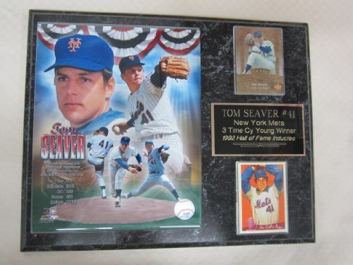 Tom Seaver 2 Card Collector Plaque w/8x10 Hall of Fame Photo