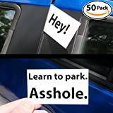 Witty Yetis Bad Parking Business Cards 5x 18+ Designs, 50 Note Pack. Shame the Idiot Parkers of the World with Swift Justice. Funny Revenge for Mean Road Ragers & Morons. Gag Gift, Insult Set & Prank