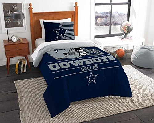 Dallas Cowboys - 2 Piece TWIN Size Printed Comforter Set - Entire Set Includes: 1 Twin Comforter (64