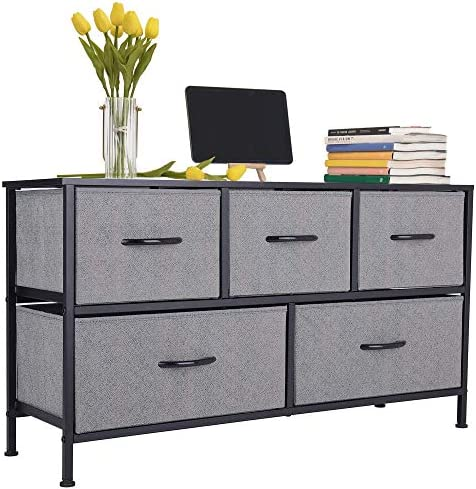 """GRANNY SAYS Wide Dressers with 5 Drawers, Fabric Dressers for Bedroom & Entryway, TV Stand with Dresser, Dresser Storage, Black/Gray, 38.9""""L X 12.9""""W X 21.6""""H"""
