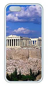 iPhone 5S Case, iPhone 5S Cases -Blue Sky Acropolis Border Buildings TPU Rubber Soft Case Back Cover for iPhone 5/5S ¨C White