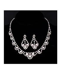 Bridal Wedding Jewelry Set Simulated Pearl Crystal Rhinestone Necklace Earrings
