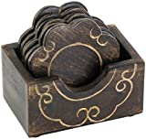 Set of 6 Wooden Flower-Shaped Drink Coasters with a Holder - Sturdy & Decorative Table Essential