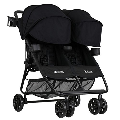 ZOE XL2 Best v2 Lightweight Double Travel & Everyday Umbrella Twin Stroller System (Black)