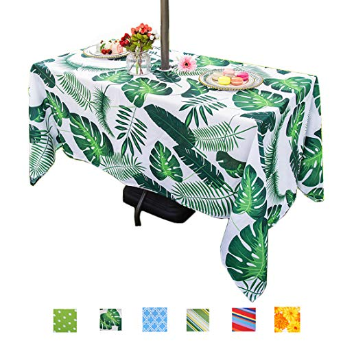 Eternal Beauty Polyester Outdoor Tablecloth Rectangular Spillproof with Umbrella Hole Zipper for Spring Summer Dining BBQ Party (Green Palm Leaf, - Oval Umbrella Tabletop