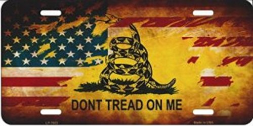 Smart Blonde LP-7925 Do Not Tread On Me US Flag Novelty Metal License Plate ()
