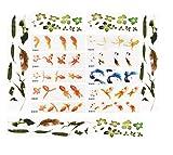 Yalulu 30 Sheets 3D Simulation Resin Decorative Sticker Micro Landscape Phone Case DIY Mold Fish Leaves Sticker Resin Jewelry Making