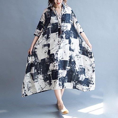 Stile Donne Per Immagine Casuale Come Coolred Le Irregolare Cinese Abito Allentato Biancheria Cotone vZwxA4qR