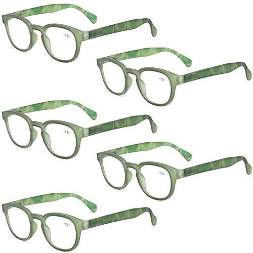 Reading Glasses Fashion Men and Women Readers Spring Hinge with Pattern Design Eyeglasses for Reading (5 Pack Green, 4.0)