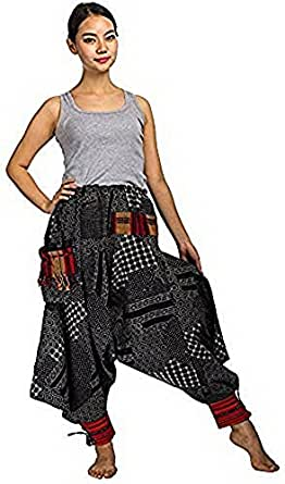 Unisex Aladdin Trouser Yoga Boho Gypsy Hippie Loose Harem Pants Plus Size