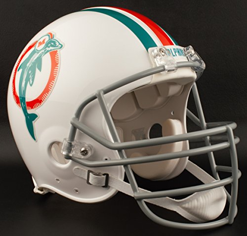 (Riddell Miami Dolphins 1973-1979 NFL Authentic Throwback Football Helmet w/JOP Facemask)