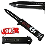 Cheap Joker Spring Assisted Opening Pocket Knife Why So Serious Belt Clip Tactical Batman Dark Knight 4 Variations (Black/White)