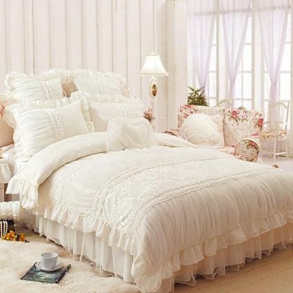 Amazon.com: FADFAY Home Textile,Beautiful Milk White Ruffle