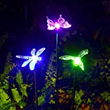 Outdoor Solar Garden Lights, OxyLED Hummingbird, Butterfly & Dragonfly Stake Solar Lights, Solar-Powered Landscape Lighting, Multi-color Changing LED Patio Lights, Solar Decorative Lights for Garden, Patio, Backyard (3-pack)