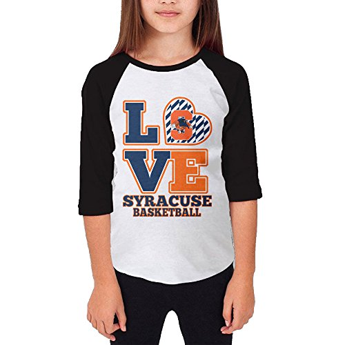 Price comparison product image Hotboy19 Youth Girls Syracuse University Raglan Tee Baseball Shirt Black Size L