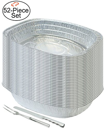 Tiger Chef 50-Pack, Durable Aluminum Large Oval Turkey Roasting Pan Disposable, Includes Stainless Steel Meat Knife and Fork, Extra Large Size 17.67'' x 14.44'' x 3.13'' High by Tiger Chef