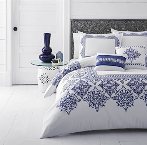 5 Piece Medallion Bordered Design Comforter Set Full/Queen Size, Featuring Reversible Embroidered Graphic Pattern Comfortable Bedding, Modern Exotic Greek Island Inspired Bedroom Decor, Blue, White