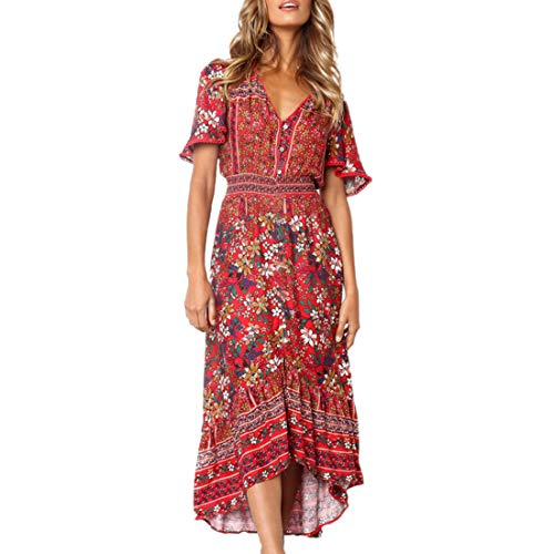 Casual Button Up Flower Deep V Neck Ruched Elegant Boho Flowy Maxi Dress Red M ()