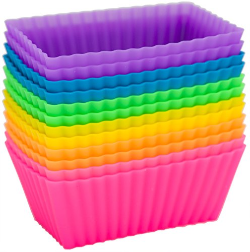 Square Silicone Baking Cups - Pantry Elements Rectangular Silicone Baking Cups/Cupcake and Muffin Molds, Six Vibrant Colors - 12-Pack