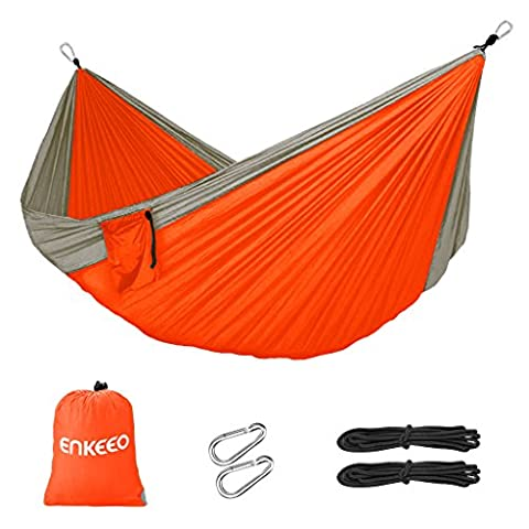 Enkeeo Camping Hammock 450lbs Portable Compact 2 Person Double Multifunctional Parachute Nylon Fabric Beach Tree Hammocks with for Picnic Hiking Traveling Park Playing Backyard Relaxing (Orange - Machine Spreader Bar