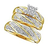Silvernshine Jewels His & Her 1/3 ct Diamond 14k Yellow Gold Fn Princess Shape Trio Wedding Ring Set