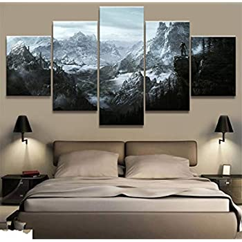 JESC Home Decor Modular Canvas Picture 5 Piece Skyrim Game Painting Poster Wall for Home Canvas Painting
