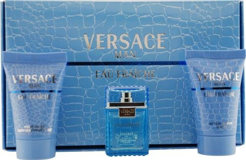 - Versace Man Eau Fraiche By Gianni Versace For Men Edt .17 Oz Mini & After Shave Balm .8 Oz Mini & Shower Gel .8 Oz Mini