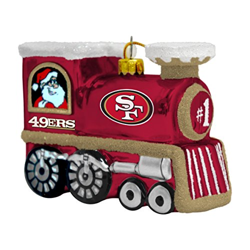 NFL San Francisco 49ers Blown Glass Train Ornament