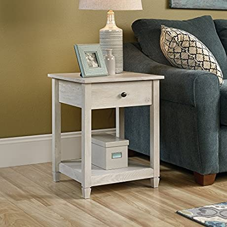 Sauder Edge Water Side Table In Chalked Pine