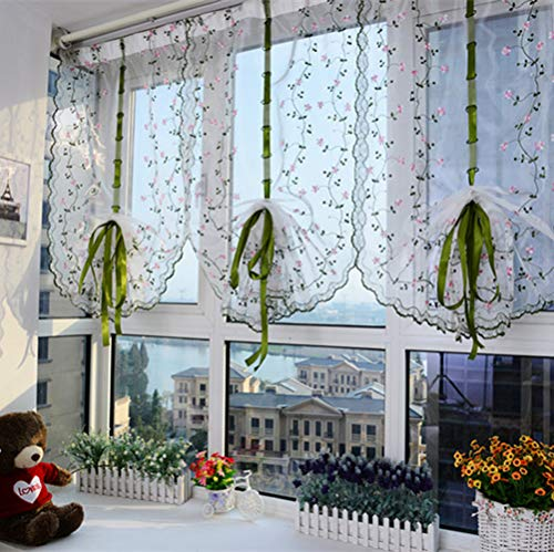 (YJBear Embroidery Pink Floral Flower Tie-Up Roman Curtain with Bowknot Ribbon Voile Drapery for Home Decoration Rod Pocket Sheer Curtain Set for Window/Balcony/Balloon 31.49