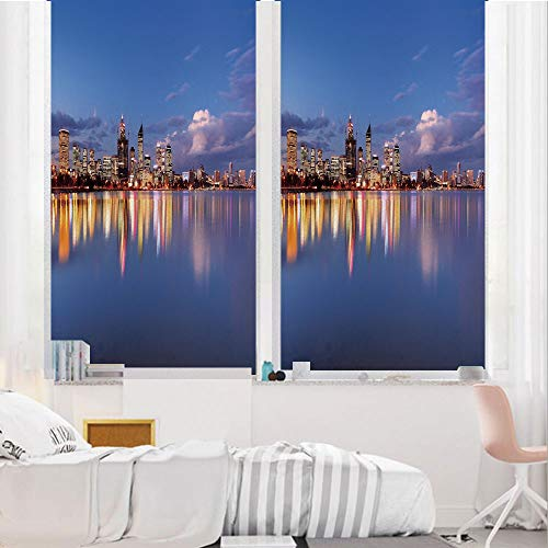 Modern 3D No Glue Static Decorative Privacy Window Films, Skyline of Perth - Cabinets Mirrors Bathroom Perth