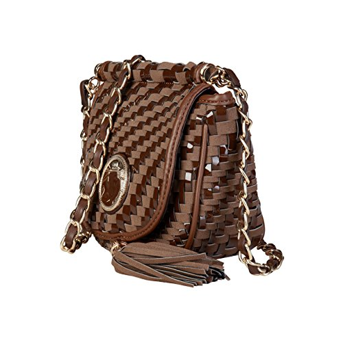 £320 Designer Brown Bag Class 00 RRP Crossbody Women Genuine Cavalli Cross Bag Body aPxqB