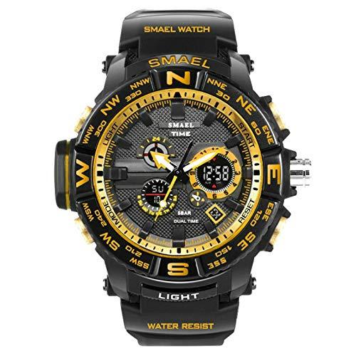 (Men Smart Watches SMAEL Brand Dual Display Watch Men LED Digital Analog Electronic Quartz Watches 30M Waterproof Male Clock (Black Gold))