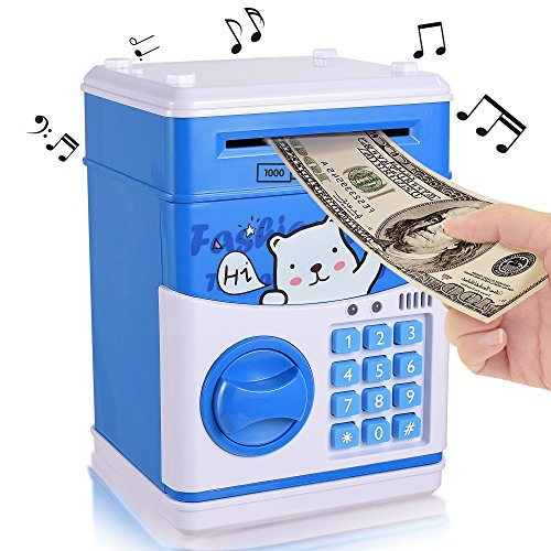 Vacation Piggy Bank (New Kids Cartoon Electronic Money Bank,Yoego Security Piggy Bank Mini ATM Password Coins Money Savings Box Toys Smart Voice & Music Prompt,Code Lock for Children/Toy Gifts Birthday Gift (White bear))