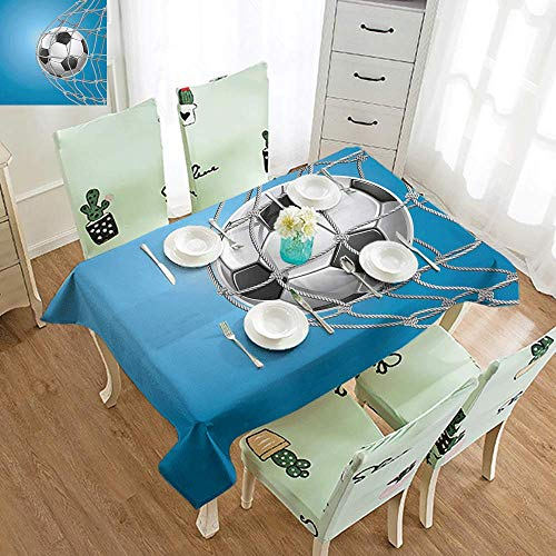 DILITECK Rectangular Tablecloth Soccer Goal Football in Net Entertainment Playing for Winning Active Lifestyle Washable Tablecloth W52 xL72 Blue Pale Grey Black