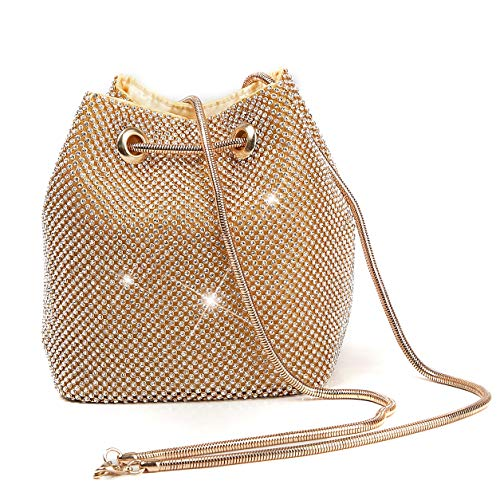 Mogor Bling Twinkle Glitter Luxury Full Rhinestones Portable Evening Clutch Bucket Bag Tote Purse Wallet Gift for Girl Women Fashion Party Wedding Prom,Gold01 ()