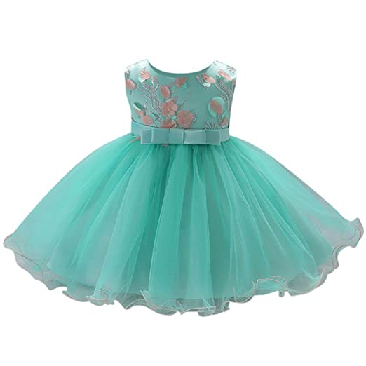 JPOQW Baby Girl Ball Gown Dress Flowers Newborn Toddler Tulle Tutu Wedding Party Formal Dresses 6