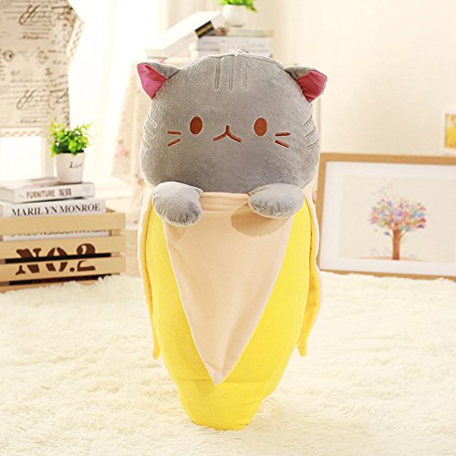 """[KAMSOL Lovely Banana Cat Plush Toy for Child Kids Baby PP Cotton Plush Toys with Hanging Rope 7""""] (Banana Baby Infant Costumes)"""