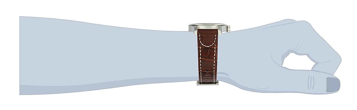Invicta Men 0765 II Collection Silver Dial Brown Leather Watch