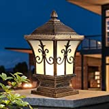 Modeen Continental Victoria Retro LED Outdoor Table Lamp Waterproof Villa Balcony Fence Column Lamp Desk Light Glass Aluminum Light E27 Decoration Garden Lights Lawn Lamp (Color : Bronze, Size : S)