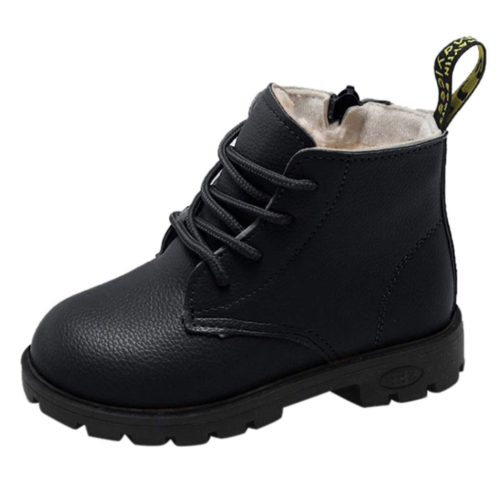 Voberry@ Boys Girls Classic Waterproof Leather Outdoor Lace Up Winter Boots Kids Ankle Boots