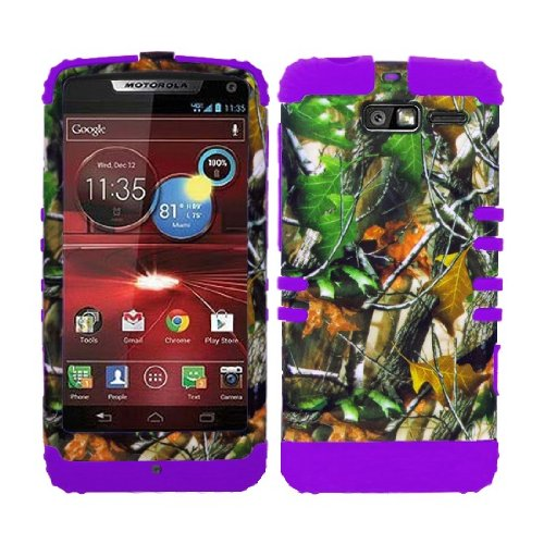 CellPhone Trendz Hybrid 2 in 1 Case Hard Cover Faceplate Skin Purple Silicone and Camo Mossy Hunter Green Leaves Snap Protector for Motorola DROID RAZR M (XT907, 4G LTE, - Hunter Motorola Faceplates