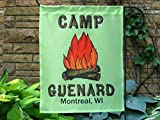 Personalized Camp Fire Flag, Custom Green Garden or House Flag, Green Camp Flag Banner.