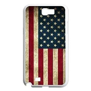 JFLIFE American Retro Flag Phone Case for samsung galaxy note2 White Shell Phone [Pattern-1] WANGJING JINDA