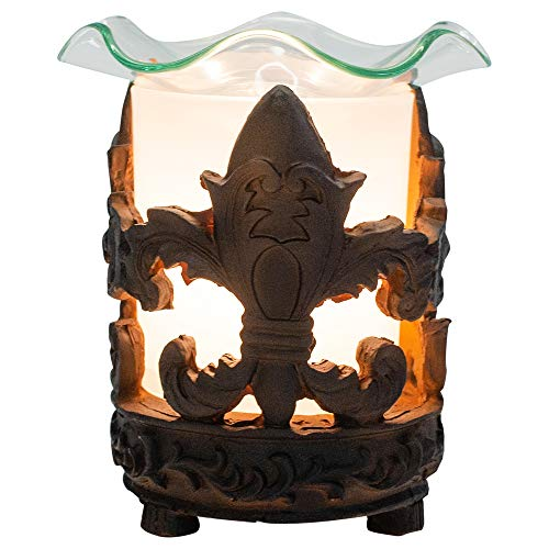 Gift Connection Black Fleur De Lis 3.5 x 5 Glass Electric Wall Plug-in Oil Burner with Dimmer Switch