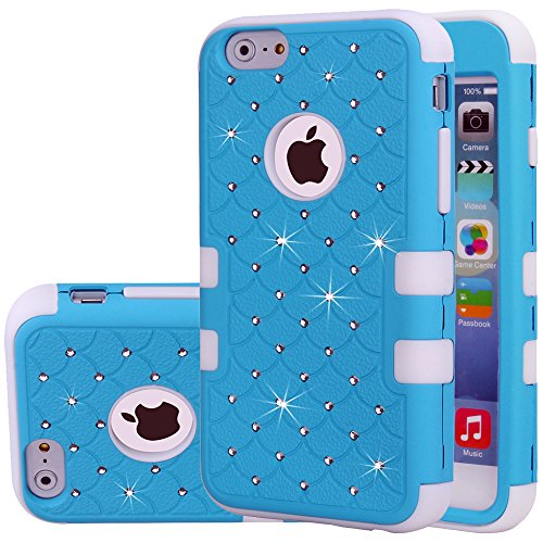 iPhone 6s Plus Case,iPhone 6 Plus Case,Auker 2 in 1 Shockproof Impact Drop Resistant Non Slip Glitter Bling Mermaids Scales Hybrid Protective Hard PC Rubber Case Cover for iPhone 6Plus (Blue W)