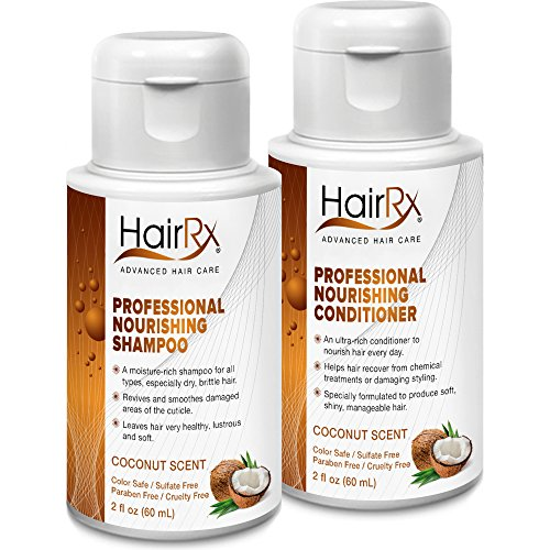HairRx Professional Nourishing Shampoo & Conditioner Travel Set, Light Lather, Coconut Scent, 2 Ounce Bottles