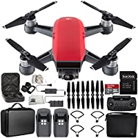 DJI Spark Portable Mini Drone Quadcopter Fly More Combo Portable Bag Shoulder Travel Case Bundle (Lava Red)