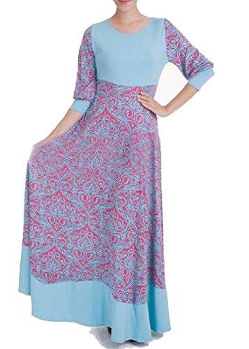 Confortables Moyen-orient Taille Manches Longues Femmes Robes Musulmanes Abaya Bleu