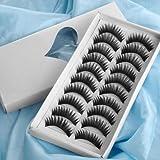 Box 10 Pares Pestañas Postizas Falsa Eyelashes negras